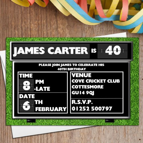 10 Personalised Cricket Score Board Birthday Party Invitations N110